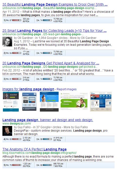landing page design serp